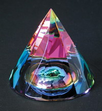 Rainbow Faceted Cone with Dome